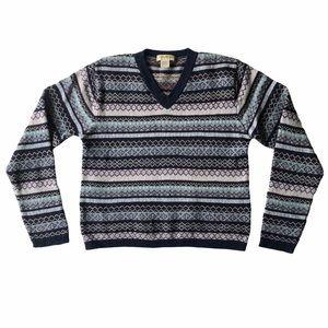 Vintage Eddie Bauer Womens Navy Fairisle Sweater L